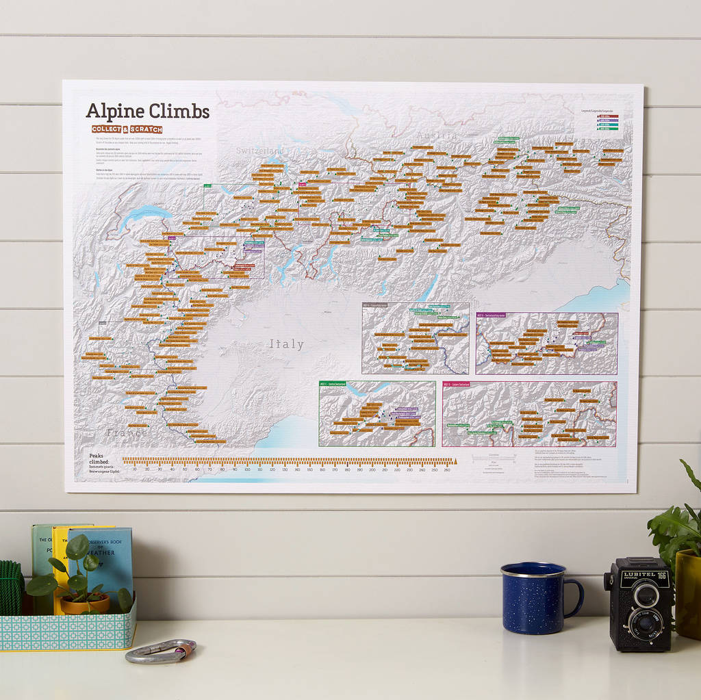 Alps Hiking Scratch Map stieracia mapa + tubus 59x84cm / anglicky
