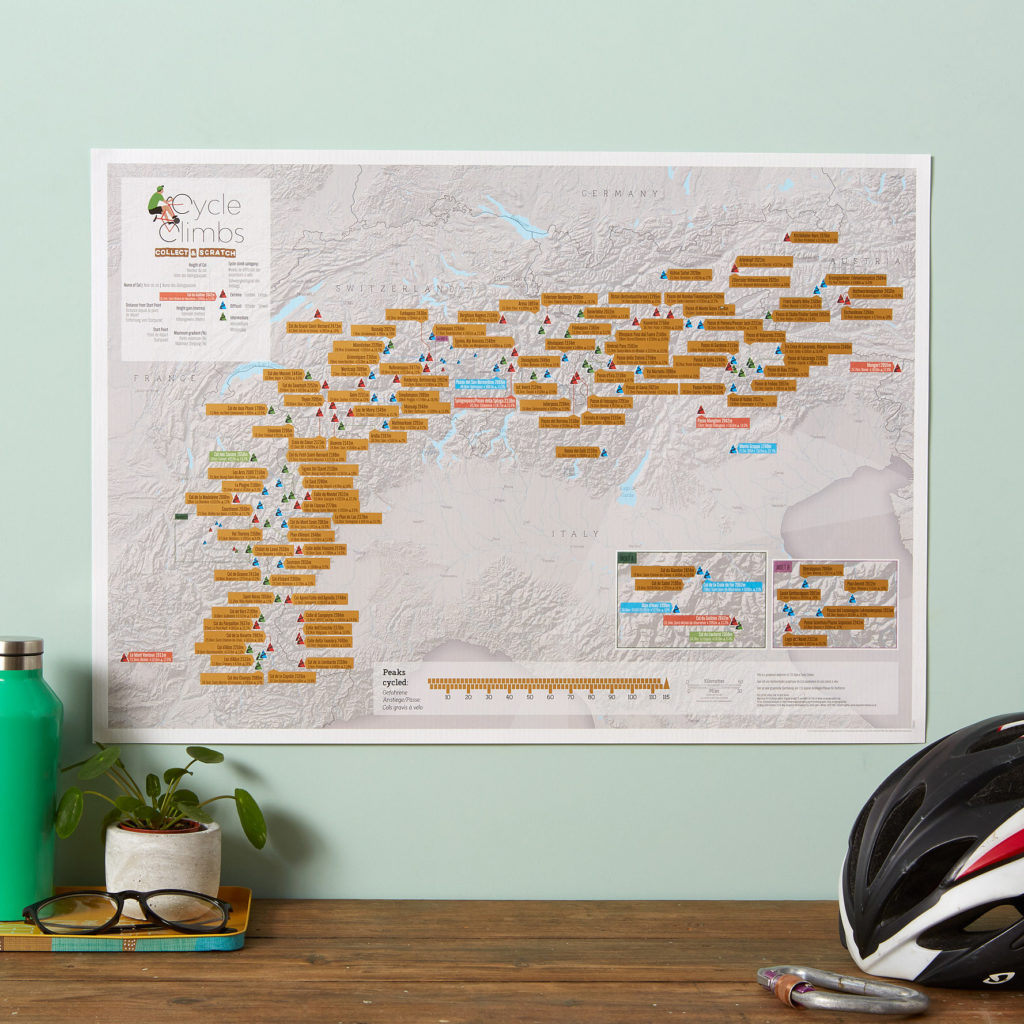 Alps Cycling Scratch Map stieracia mapa + tubus 42x59cm / anglicky