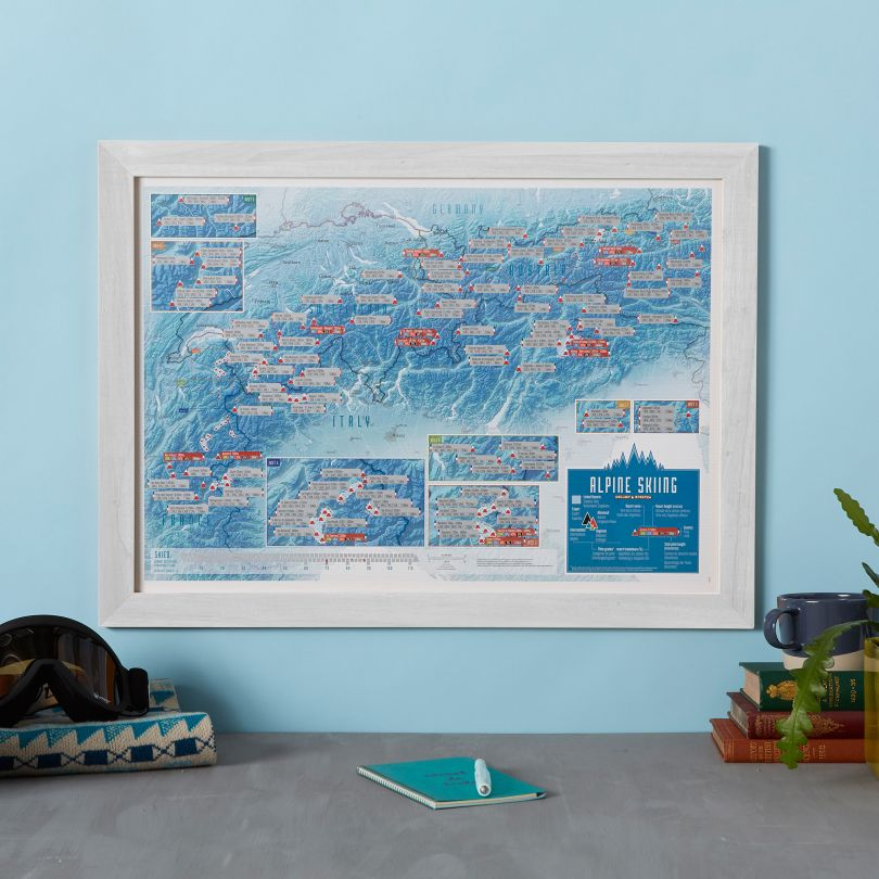 Alps Skiing Scratch Map stieracia mapa + tubus 42x59cm / anglicky